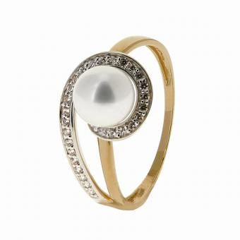 Bague Or jaune et blanc 375 Perle de culture 09IL16BZ