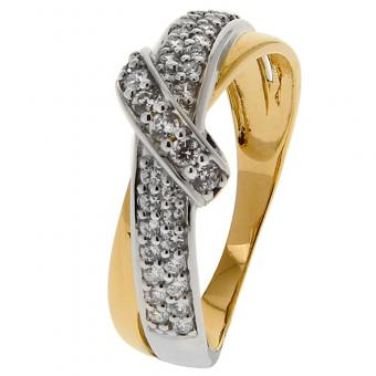 Or 9 Carats - Bague Or jaune et blanc 375 Zirconium 09SO13BZ - Bijoux femme or 9 carats