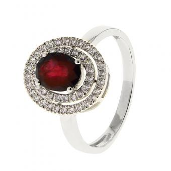 Bague Or blanc 375 Rubis 09PO51GRT