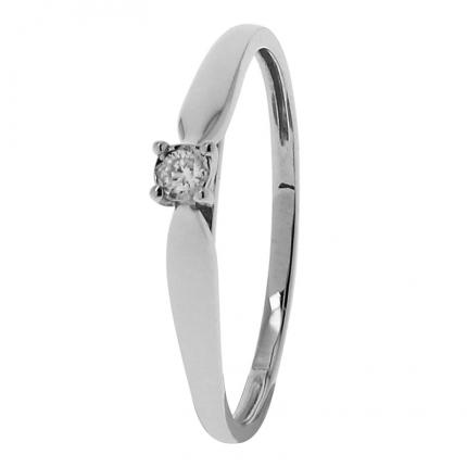 Bague Or blanc 375 Diamant 09ZQ58GB4 OR 9 CARATS