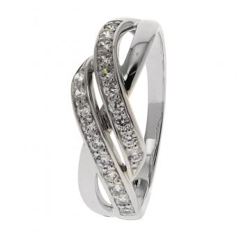 Bague Or blanc 375 Zirconium 09C452GZ