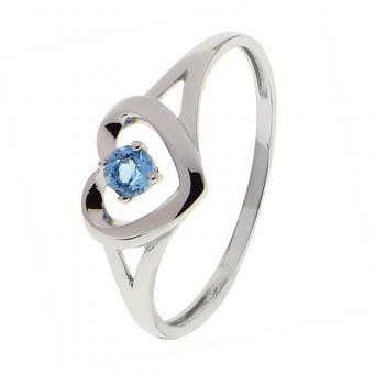 Or 9 Carats - Bague Or blanc 375 Topaze 09FH86GT - Bijoux femme or 9 carats
