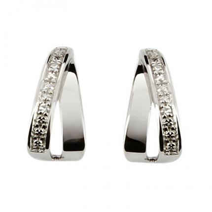 Boucle d'oreille Or blanc 375 Diamant 29ZT34GB4 OR 9 CARATS
