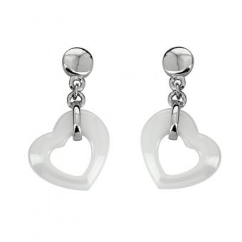 Boucles d'oreille Flying hearts white ceramic en Argent rhodié