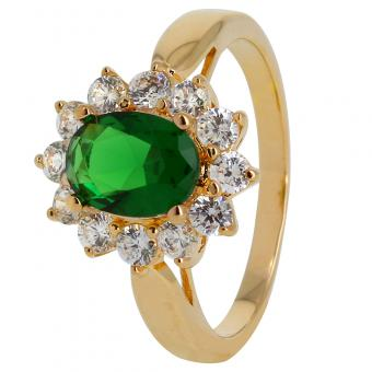 Bague Lady Green plaqué Or