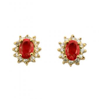 Boucles d'oreille Lady Red plaqué Or