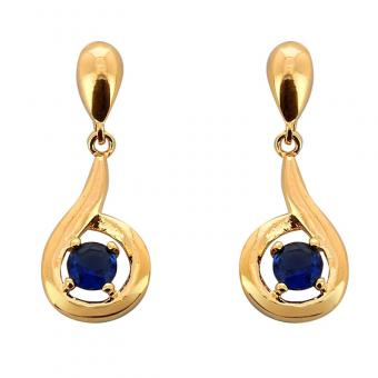 Boucles d'oreille Golden blue eye plaqué Or