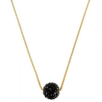 Collier Disco black plaqué Or