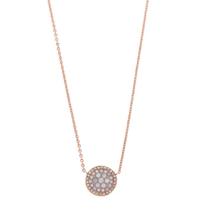collier fossil femme rose
